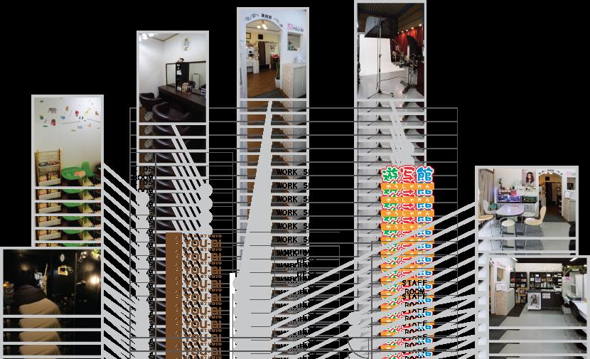筑紫野市の写真館「遊写館」美容室「YOU-BI」の店内間取り